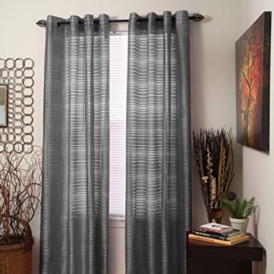 "Bedford Home Maggie Grommet Single Curtain Panel, 108-Inch, Grey - Package Includes: 1 Panel (image shows two panels for decorating purposes) Curtain Style: Maggie, Color: Grey, Dimensions: 54"" W X 108"" H (1 Panel) Construction: Grommet - living-room-soft-furnishings, living-room, draperies-curtains-shades - 51RsMmncRIL. SS400  -"