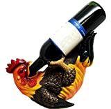 Ebros Country Farm Morning Sunshine Rooster Wine Holder Figurine 10.5''Long Chicken Hen Poultry Decor Bar Wine Cellar