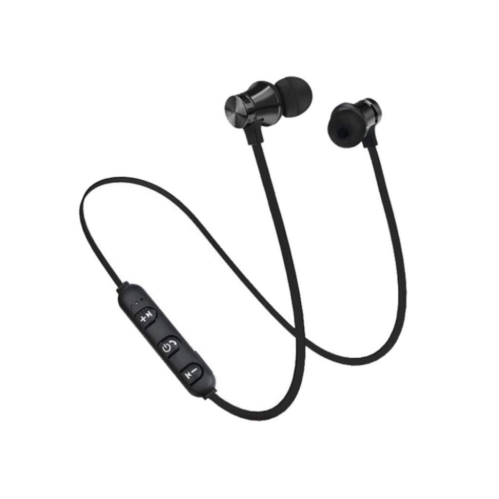 Sandistore Magnetic Wireless Bluetooth Earphone Headset Sports Stereo Headphone Earbuds Hands-Free Mic (Black)