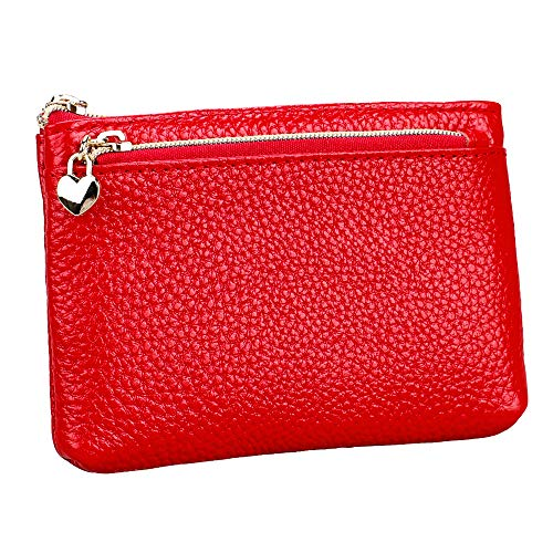 (Women's Genuine Leather Coin Purse Zipper Pocket Size Pouch Change Wallet, Red)