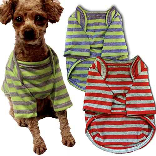 Chol&Vivi Dog Shirts for Small Dog, Dog Clothes Shirts for Small Dog Puppy, 2pcs Cotton T-Shirts Soft Apparel, Shirts…