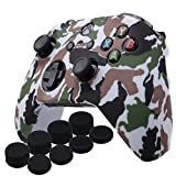 YoRHa Water Transfer Printing Camouflage Silicone Cover Skin Case for Microsoft Xbox One X & Xbox One S controller x 1(White) With PRO thumb grips x 8 For Sale