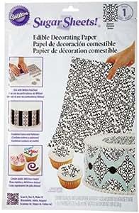 Wilton Sugar Sheet, Black and White Damask