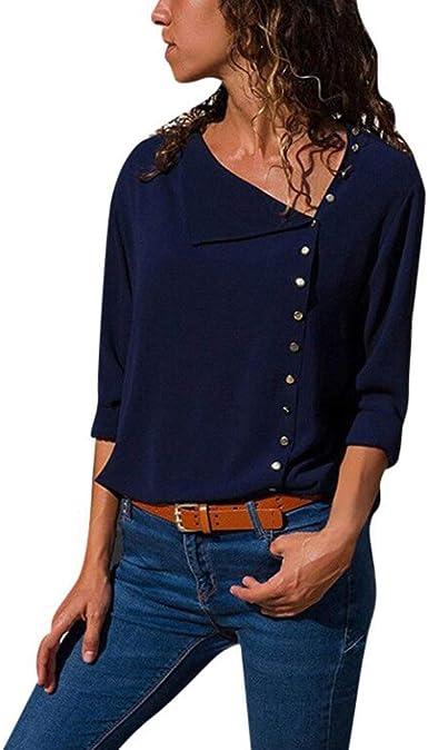 Camisas Mujer Blusa con Botones Camisetas Manga Larga Sexy Tops Color Sólido Cuello en V Low Cut Sexy Camisetas y Tops Camisas De Vestir