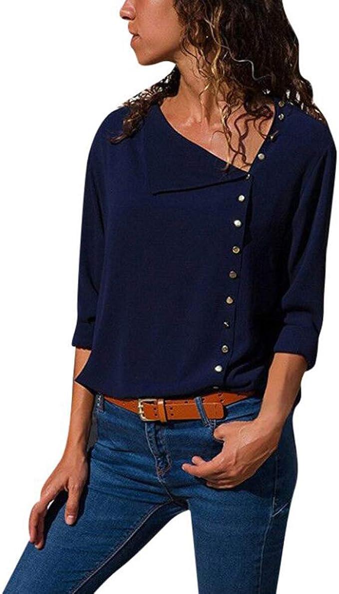Only Donna Manica Lunga Top camicette Camicia V-Neck Tunica Camicia da Donna Manica Lunga Camicia Blusa