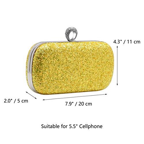 BABEYOND mujer clutches carteras de mano brillante lentejuelas fluorescentes un anillo de embrague fiesta de noche bolso de embrague Oro
