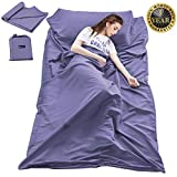 Double Cotton Sleeping Bag Liner,Travel and Camping Sheet Sleep Bag Sack Lightweight Warm Roomy for Camping,Travel, Youth Hostels, Picnic 63 x 82.7inch