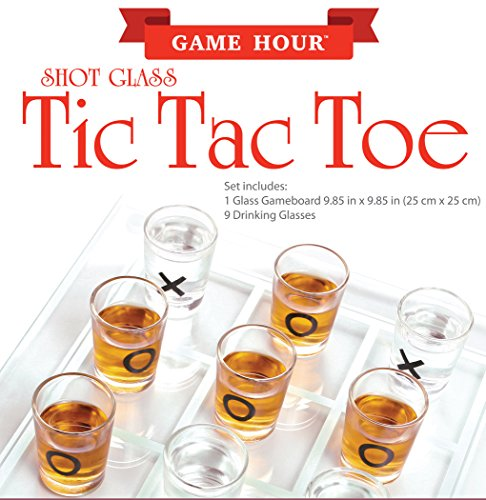 Home Essentials & Beyond Funville Tic Tac Toe with Shot Glasses, Clear ()