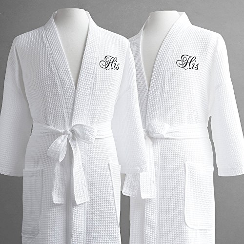 4b1f4f28a9 Same-Sex Couple s Waffle Weave Bathrobe Set-100% Egyptian Cotton-Unisex One  Size Fits Most-Spa Robe