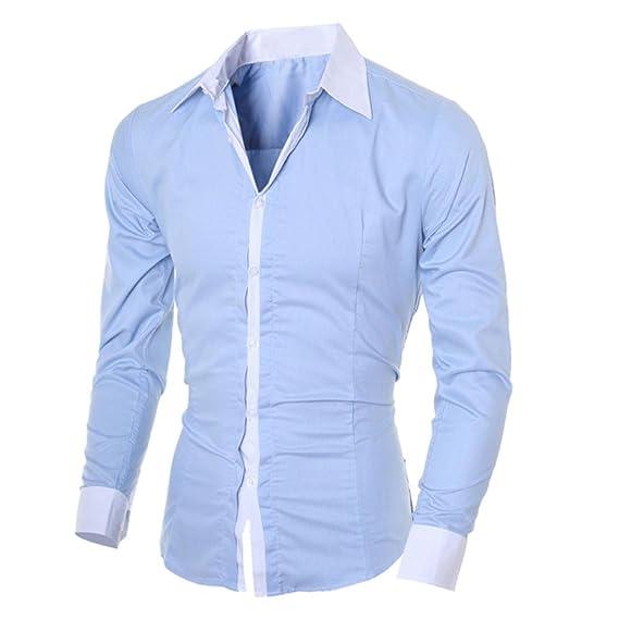 Casual de Manga Larga para Hombres Tops de la Personalidad de Moda Camisa Tops Blusa by
