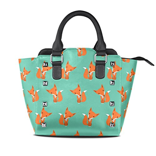 Coosun Graphically Foxes Pattern Pu Leather Women Shoulder Bag Top Handle Bag Tote Bag Multicolor Half Crossbody