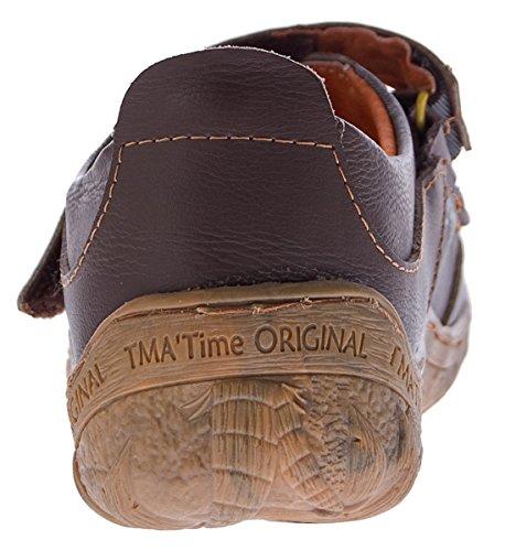 TMA Damen Leder Sandalen Schuhe 1655 Ballerina Braun Grün Weiß Schwarz Blau Ziernähte Schriftzug Gr 36-42 Braun