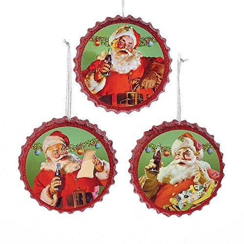 Kurt Adler Coca-Cola Santa Bottle Cap Ornament Set of 3