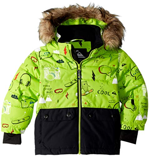 (Quiksilver Boys' Big Edgy Kids 10K Grow System Snow Jacket, Lime Green MOAM TATT, 4/5)