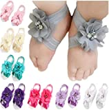 Toptim Baby Girl's Barefoot Sandals Flower for Toddlers (10 Mix Colors)