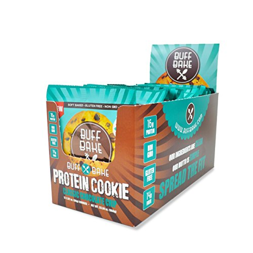 Buff Bake - Protein Cookie - Classic Chocolate Chip - Organic, Non-GMO, Gluten-Free - Pack of 12