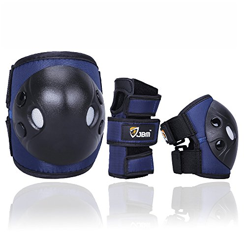 JBM Child Kids Bike Cycling Bicycle Riding Protective Gear Set, Knee and Elbow Pads with Wrist Guards Multi-Sports : Rollerblading, Skating, Basketball, BMX (Nylon Cloth Dark Blue, Child/Kids) ()