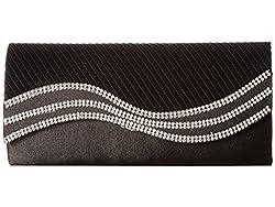 Jessica McClintock Karen Satin Wave Stone Clutch Black Clutch Handbags
