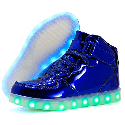 USB Flashing Night blue Sneakers shining 11 Shiny Charging Shoes LED Colors C014qCw