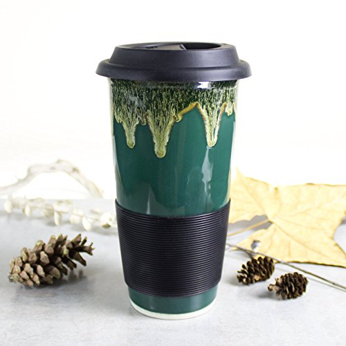 Large Forest Woodland Green Travel Mug with Lid by BlueRoomPottery (Pottery The Woodlands)