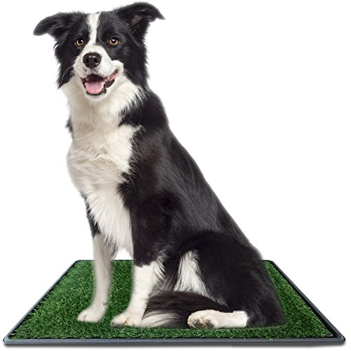 Ideas In Life Dog Potty Grass Pee Pad – Artificial Pet Grass Patch for Dogs to Pee On Great for Puppy Potty Training as an Indoor/Outdoor Litter Box Medium 20''x 25'' + e-Book for Potty Training