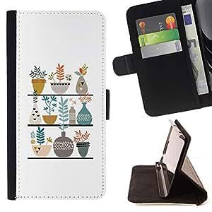 For LG G4 Case , Ollas Flores blanca minimalista Dibujo- la tarjeta de Crédito Slots PU Funda de cuero Monedero caso cubierta de piel