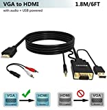 VGA to HDMI Adapter Cable 6Ft/1.8M (Old PC to New TV/Monitor with HDMI),FOINNEX VGA to HDMI Converter Cable with Audio for Connecting Laptop with VGA(D-Sub,HD 15-pin) to New Monitor,HDTV.Male to Male
