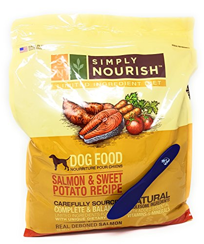 Simply Nourish Adult Sweet Potato and Salmon Dry Dog Food, Natural Ingredients - 11lbs and Especiales Cosas Mixing Spatula