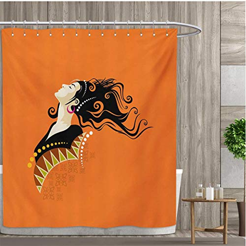 smallfly Youth Bathroom Decor Set with Hooks Young Fashion Woman Portrait with Abstract Details on Orange Curly Hair and Earrings Shower Curtains Fabric 72