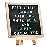 Letter Board: Premium Durable Wood Frame with Mounted Hook for Hanging, Black Felt Board, Letter Bag included - 600 Letters in White, Blue, and Green - Parties, Weddings, Birthdays, Anniversaries