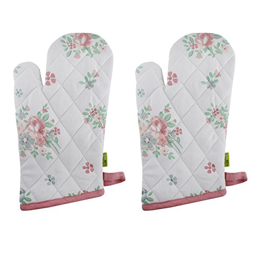 "Mitt Flower (Set of 2 Oven Mitts, 100% Cotton of Size 7""X12 Inch, Eco-Friendly & Safe, Pink English Flowers Design for Kitchen)"