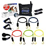 Bodylastics 12 pcs Max Tension Resistance Exercise Bands Set. This super tough system features Professional quality components at a non-professional price. You get 5 Stackable and Patented Malaysian Latex 'Snap Guard' exercise tubes, Ultra Heavy Duty components, carrying case, and printed instructions for the top muscle building exercises. Get the same system that's trusted by Law Enforcement, The Military and professional sports.