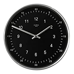 A.Cerco Non Ticking Silent Metal Wall Clock - 11 Two Tone Silver Black