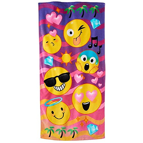Beach Face Towel (Emoji Faces Beach Towel Swimming Towel Kids Teens)