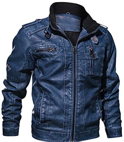 Jiinn Printemps Manteaux Rétro Classique Blousons Jacket Bleu Automne Haute Veste Faux Simili Leather Bomber Cuir Qualité Homme Style Mens Coat Flight p5rqp