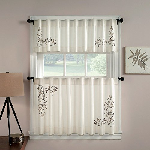 CHF Industries Scroll Leaf Tailored Tiered Kitchen Curtain - One Pair (Scroll Rod Pocket Curtain)