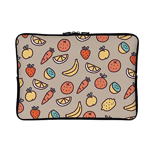 DKISEE Fruits Vegetables Pattern Neoprene Laptop Sleeve Case Waterproof Sleeve Case Cover Bag for MacBook/Notebook/Ultrabook/Chromebooks