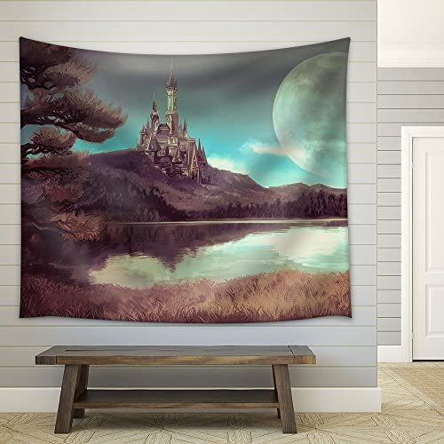 Illustration Watercolor Fantasy Illustration of a Natural Riverside Lake Forest Landscape Fabric Wall