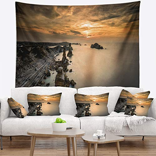 Designart TAP7432-60-50 'Liencres Rocks on Coast in Spain' Landscape Tapestry Blanket Décor Wall Art for Home and Office, Large: 60 in. x 50 in. by Designart