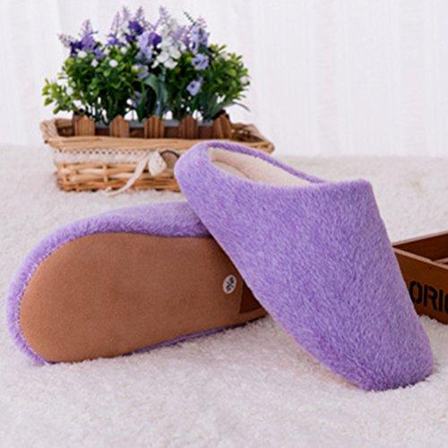 BESTOYARD d'hiver intérieure Peluche en Violet Pantoufles pour Chaudes Doux Chaussons Femme Chaussons Antidérapant OBqF6w6