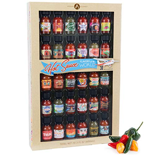 Thoughtfully Gifts, Hot Sauce Flavors of the World: 30 Pack Hot Sauce Sampler Set, Inspired by International Hot Sauce Flavors of the World, 30 sample bottles of hot sauce, 0.7 oz each (Box Of Beers From Around The World)
