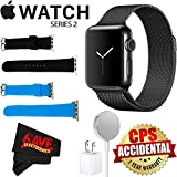 Apple Watch Series 2 38mm Smartwatch (Space Black Stainless Steel Case, Space Black Milanese Loop Band) + Watch Band Black 38mm + Watch Band Blue 38mm + MicroFiber Cloth Bundle