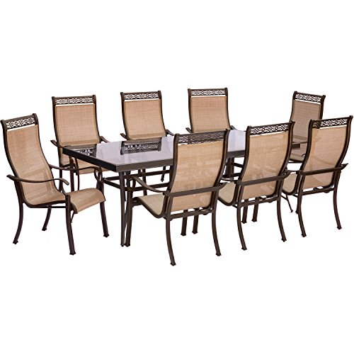 Hanover Monaco 9 Piece Dining Set With 8 Stationary Dining