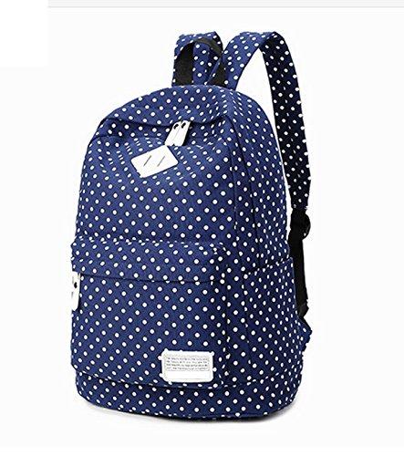 For School Zhuhaixmy Rose 8872 Travel QR Laptop Dark Blue Dot Girls Canvas Bag Bag Teenage Backpack zwAwBxq