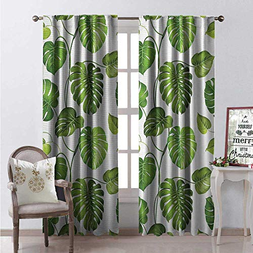 Hengshu Leaf Window Curtain Drape Tropical Jungle Rainforest Leaves Palm Mango Tree Wild Leaves Art Print Customized Curtains W120 x L108 0