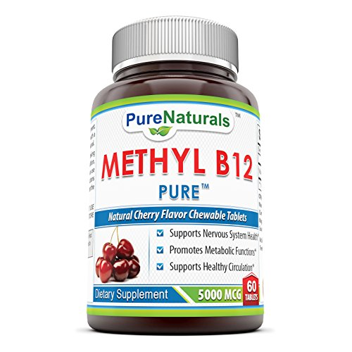 Pure Naturals Methyl B12 Dietary Supplement Chewing Tablets, 5000 Mcg, 60 Count