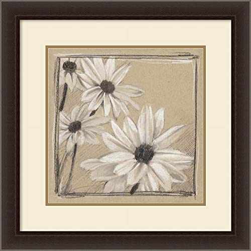 Framed Art Print 'White Floral Study II' by Ethan Harper: Outer Size 26 x 26