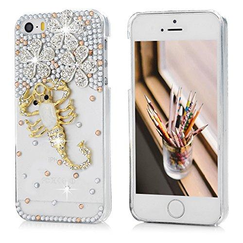 iPhone 5/5S/SE Cover Slim Rigida Plastica Trasparente con Strass Tutti i Angoli Coperti - MAXFE.CO, Custodia Ultra Sottile Case Protettiva per iPhone 5/5S/SE - Fiore