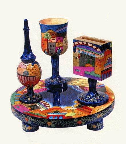 Carved Wood Havdalah Set - Jerusalem (Wood Havdalah Set)