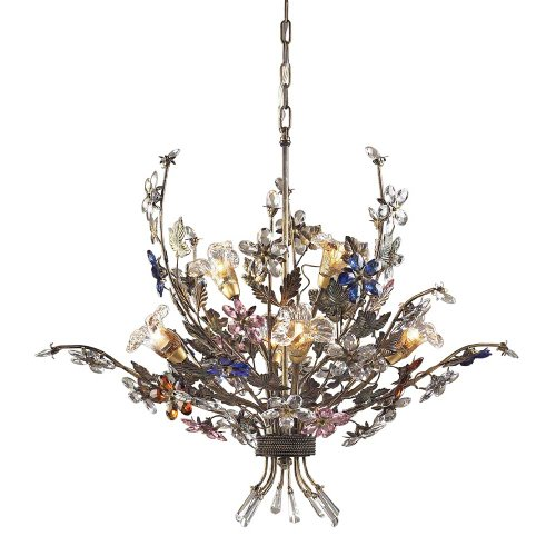 Artistic Lighting 6 Light Chandelier in Bronzed Rust and Multi Colored Crystal Florets